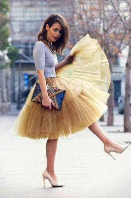 Puffy Knee-length Carnival Peticoat in Burgundy, White, Yellow, Gray, Pink, Mint Green_48