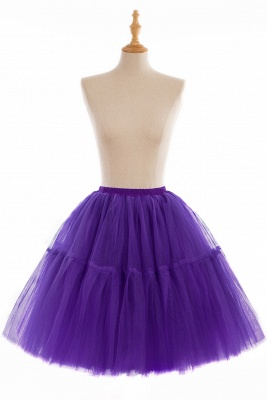 Puffy Knee-length Carnival Peticoat in Burgundy, White, Yellow, Gray, Pink, Mint Green_12