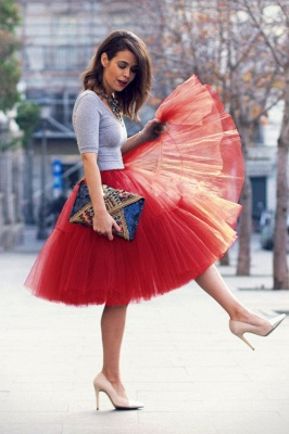 Puffy Knee-length Carnival Peticoat in Burgundy, White, Yellow, Gray, Pink, Mint Green_34