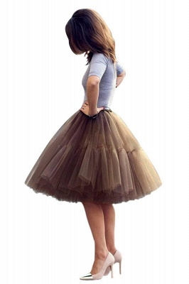 Puffy Knee-length Carnival Peticoat in Burgundy, White, Yellow, Gray, Pink, Mint Green_7