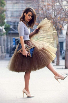 Puffy Knee-length Carnival Peticoat in Burgundy, White, Yellow, Gray, Pink, Mint Green_72