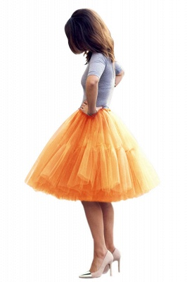 Puffy Knee-length Carnival Peticoat in Burgundy, White, Yellow, Gray, Pink, Mint Green_31