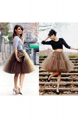 Puffy Knee-length Carnival Peticoat in Burgundy, White, Yellow, Gray, Pink, Mint Green_74