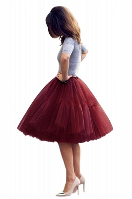 Puffy Knee-length Carnival Peticoat in Burgundy, White, Yellow, Gray, Pink, Mint Green_45