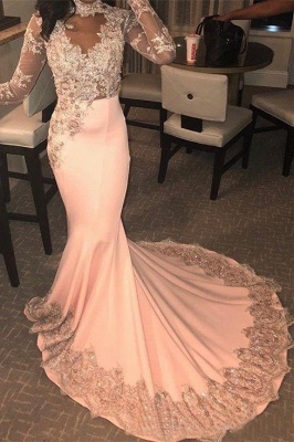 Mermaid Long Sleeves Appliques Pink Prom Dresses