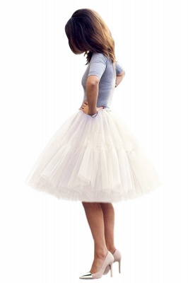 Puffy Knee-length Carnival Peticoat in Burgundy, White, Yellow, Gray, Pink, Mint Green_64