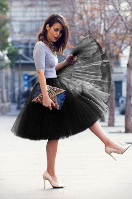 Puffy Knee-length Carnival Peticoat in Burgundy, White, Yellow, Gray, Pink, Mint Green_40