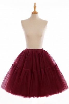 Puffy Knee-length Carnival Peticoat in Burgundy, White, Yellow, Gray, Pink, Mint Green_6