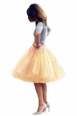 Puffy Knee-length Carnival Peticoat in Burgundy, White, Yellow, Gray, Pink, Mint Green_67