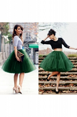 Puffy Knee-length Carnival Peticoat in Burgundy, White, Yellow, Gray, Pink, Mint Green_62