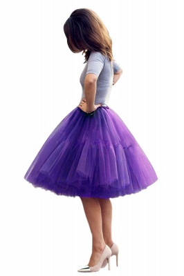 Puffy Knee-length Carnival Peticoat in Burgundy, White, Yellow, Gray, Pink, Mint Green_70