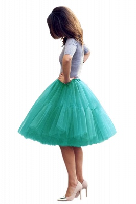 Puffy Knee-length Carnival Peticoat in Burgundy, White, Yellow, Gray, Pink, Mint Green_57