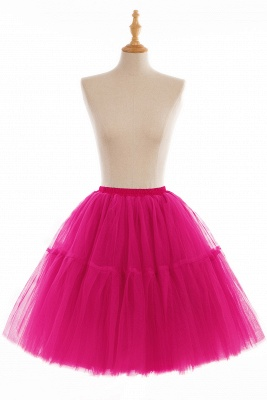 Puffy Knee-length Carnival Peticoat in Burgundy, White, Yellow, Gray, Pink, Mint Green_5