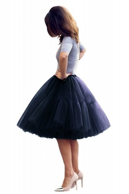 Puffy Knee-length Carnival Peticoat in Burgundy, White, Yellow, Gray, Pink, Mint Green_29