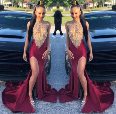 Sleeveless Halter Golden Burgundy Mermaid Prom Dresses_2