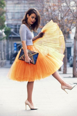 Puffy Knee-length Carnival Peticoat in Burgundy, White, Yellow, Gray, Pink, Mint Green_32