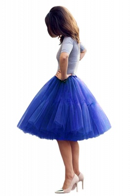 Puffy Knee-length Carnival Peticoat in Burgundy, White, Yellow, Gray, Pink, Mint Green_24