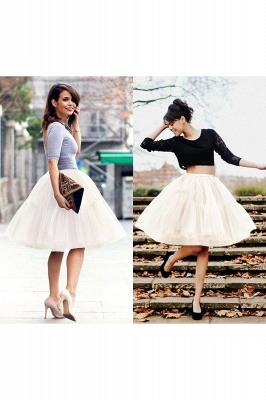 Puffy Knee-length Carnival Peticoat in Burgundy, White, Yellow, Gray, Pink, Mint Green_23