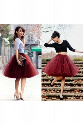 Puffy Knee-length Carnival Peticoat in Burgundy, White, Yellow, Gray, Pink, Mint Green_46