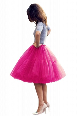 Puffy Knee-length Carnival Peticoat in Burgundy, White, Yellow, Gray, Pink, Mint Green_55