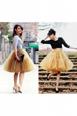 Puffy Knee-length Carnival Peticoat in Burgundy, White, Yellow, Gray, Pink, Mint Green_50