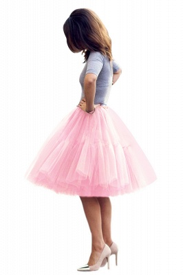 Puffy Knee-length Carnival Peticoat in Burgundy, White, Yellow, Gray, Pink, Mint Green_37