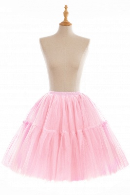 Puffy Knee-length Carnival Peticoat in Burgundy, White, Yellow, Gray, Pink, Mint Green_3