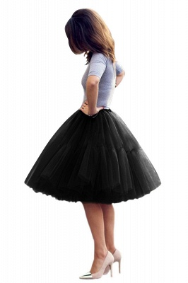 Puffy Knee-length Carnival Peticoat in Burgundy, White, Yellow, Gray, Pink, Mint Green_41
