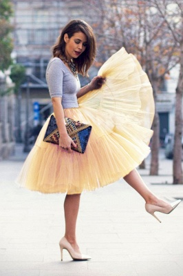 Puffy Knee-length Carnival Peticoat in Burgundy, White, Yellow, Gray, Pink, Mint Green_66
