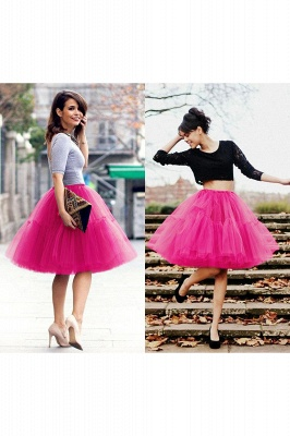 Puffy Knee-length Carnival Peticoat in Burgundy, White, Yellow, Gray, Pink, Mint Green_54