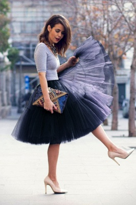 Puffy Knee-length Carnival Peticoat in Burgundy, White, Yellow, Gray, Pink, Mint Green_28