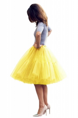 Puffy Knee-length Carnival Peticoat in Burgundy, White, Yellow, Gray, Pink, Mint Green_43