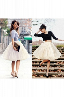 Puffy Knee-length Carnival Peticoat in Burgundy, White, Yellow, Gray, Pink, Mint Green_65