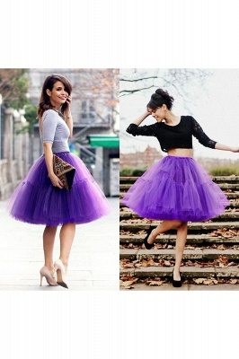 Puffy Knee-length Carnival Peticoat in Burgundy, White, Yellow, Gray, Pink, Mint Green_69