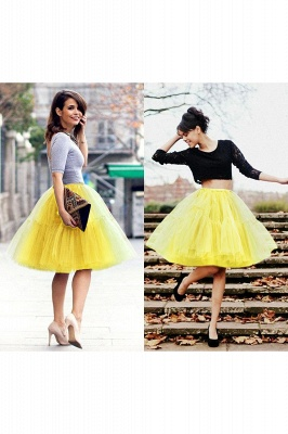 Puffy Knee-length Carnival Peticoat in Burgundy, White, Yellow, Gray, Pink, Mint Green_44
