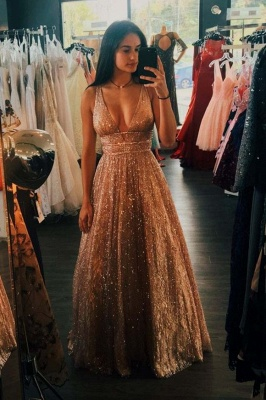 Shinning Deep V-neck Sequins Prom Dresses Spaghetti Sleeveless
