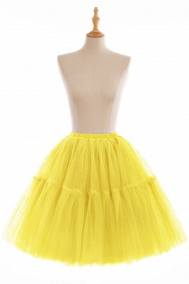 Puffy Knee-length Carnival Peticoat in Burgundy, White, Yellow, Gray, Pink, Mint Green_11