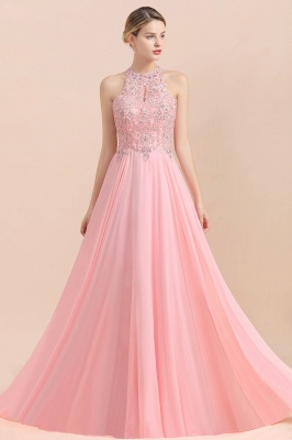 A-line Pink Pears Beaded Halter Bridesmaid Dresses_17