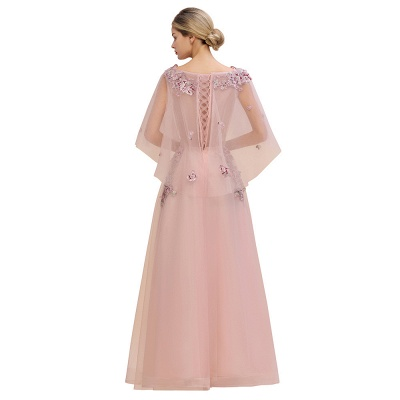 Chic Dusty Pink Tulle Prom Dress Long Short Sleeve Evening Gowns Online_5
