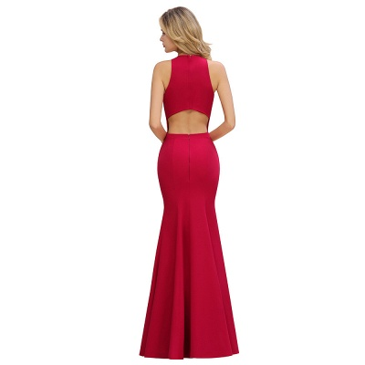Sexy Red Halter Mermaid Prom Dress Long Evening Gowns Online_12