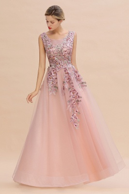 Gorgeous Dusty Pink Tulle Prom Dress Long With Lace Appliques_3