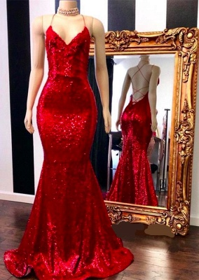 Sequins V-neck Mermaid Lace-up Red Prom Dresses