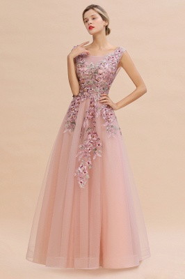 Gorgeous Dusty Pink Tulle Prom Dress Long With Lace Appliques_11