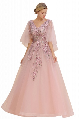 Chic Dusty Pink Tulle Prom Dress Long Short Sleeve Evening Gowns Online_8