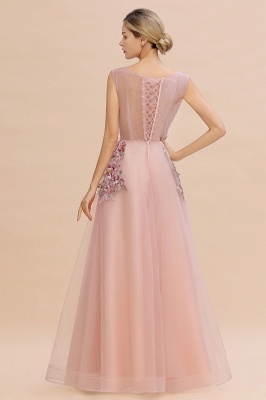 Gorgeous Dusty Pink Tulle Prom Dress Long With Lace Appliques_6