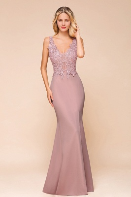 Dusty Pink Mermaid Lace Prom Dress Long Sleeveless Evening Gowns_1