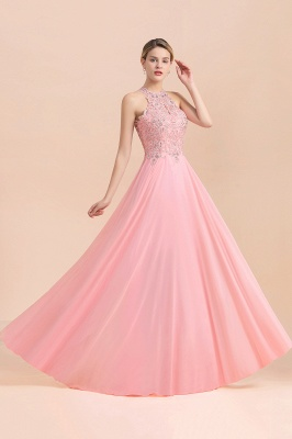 A-line Pink Pears Beaded Halter Bridesmaid Dresses_21