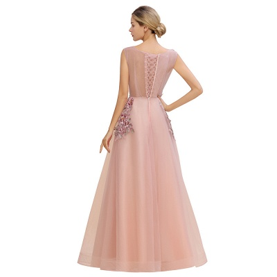 Gorgeous Dusty Pink Tulle Prom Dress Long With Lace Appliques_12