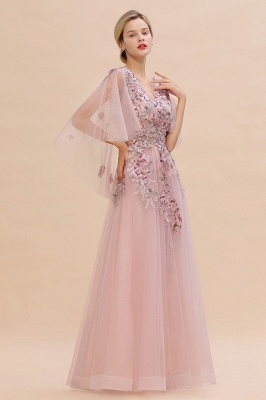 Chic Dusty Pink Tulle Prom Dress Long Short Sleeve Evening Gowns Online_6