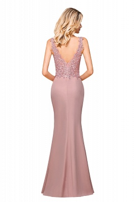 Dusty Pink Mermaid Lace Prom Dress Long Sleeveless Evening Gowns_8